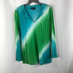 JONES NEW YORK BLUE/GREEN SIZE M BLOUSE